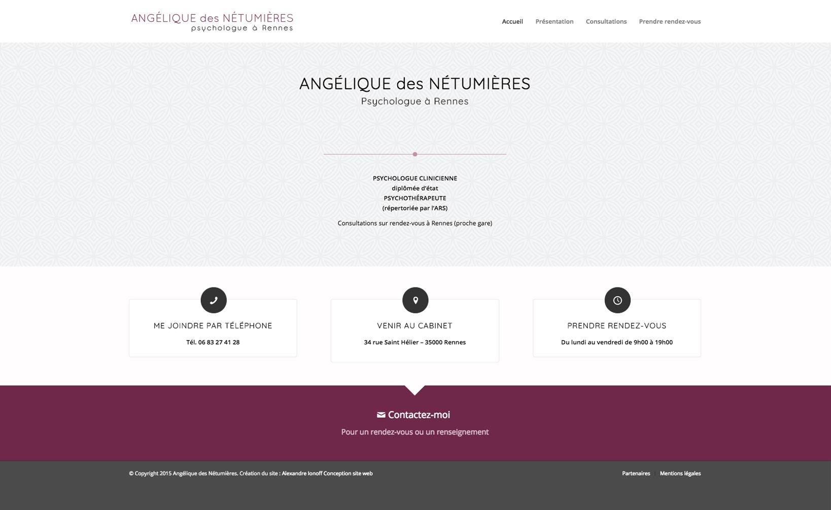 Site web Angélique des Nétumières - vue desktop 1