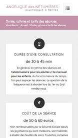 Site web Angélique des Nétumières - vue mobile 2