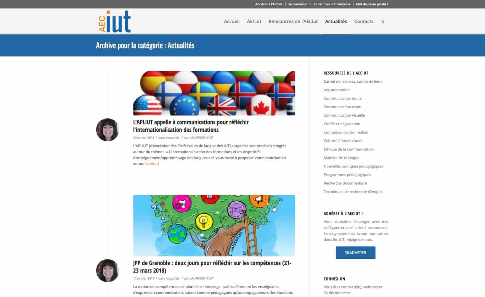 Site web AECiut - vue desktop 2