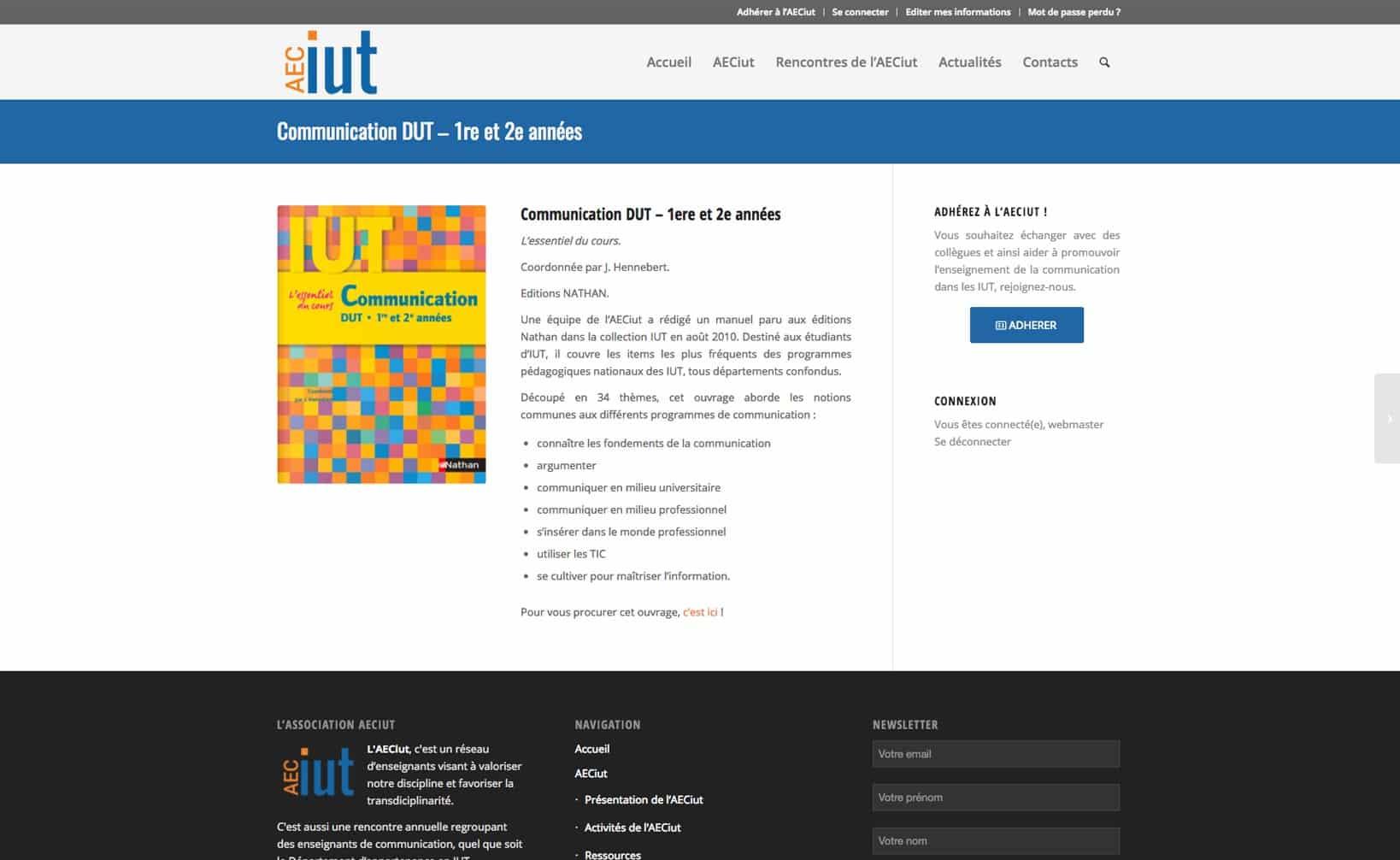 Site web AECiut - vue desktop 3