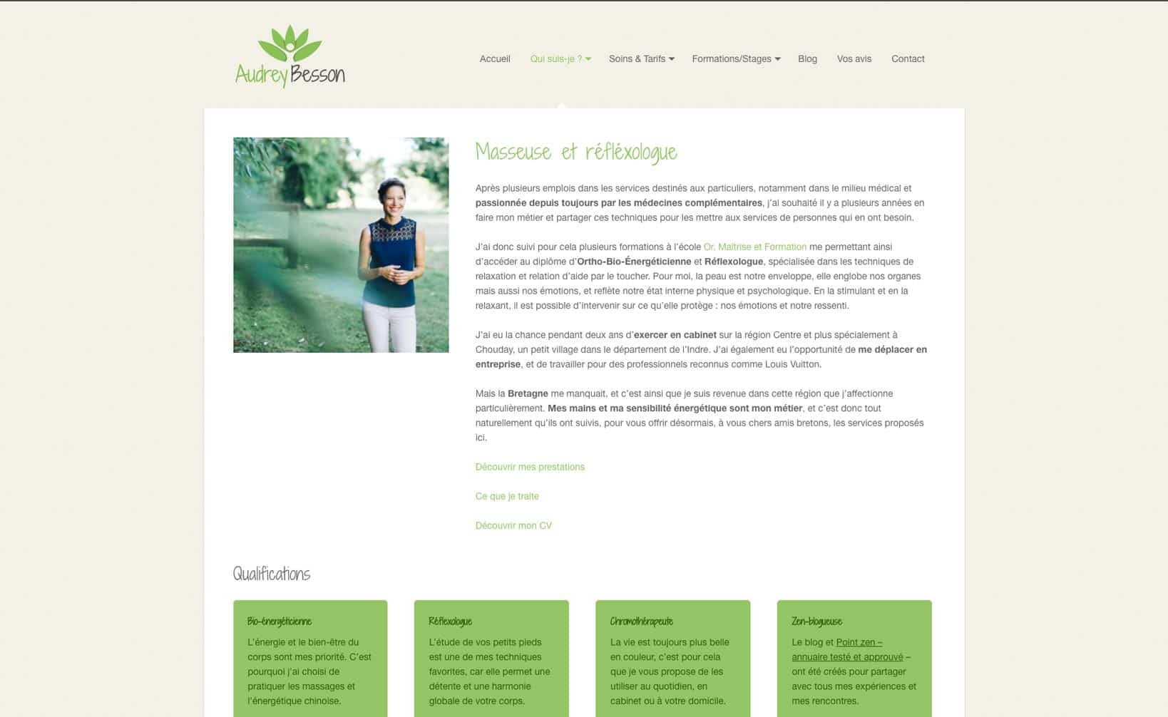 Site web Audrey Besson - vue desktop 2
