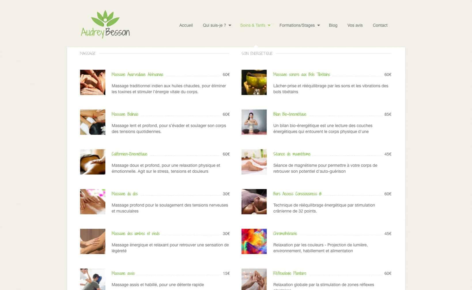 Site web Audrey Besson - vue desktop 3