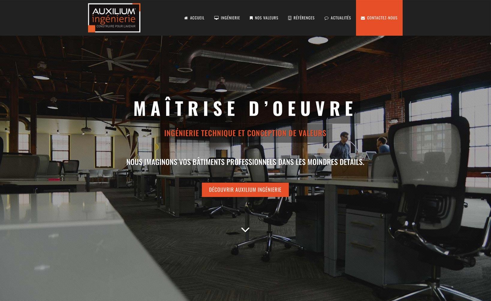 Site web Auxilium Ingénierie - vue desktop 1