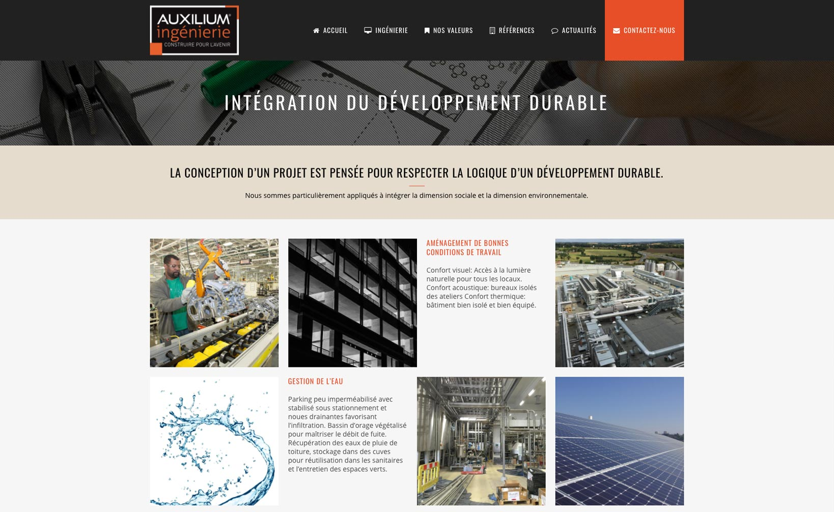 Site web Auxilium Ingénierie - vue desktop 2