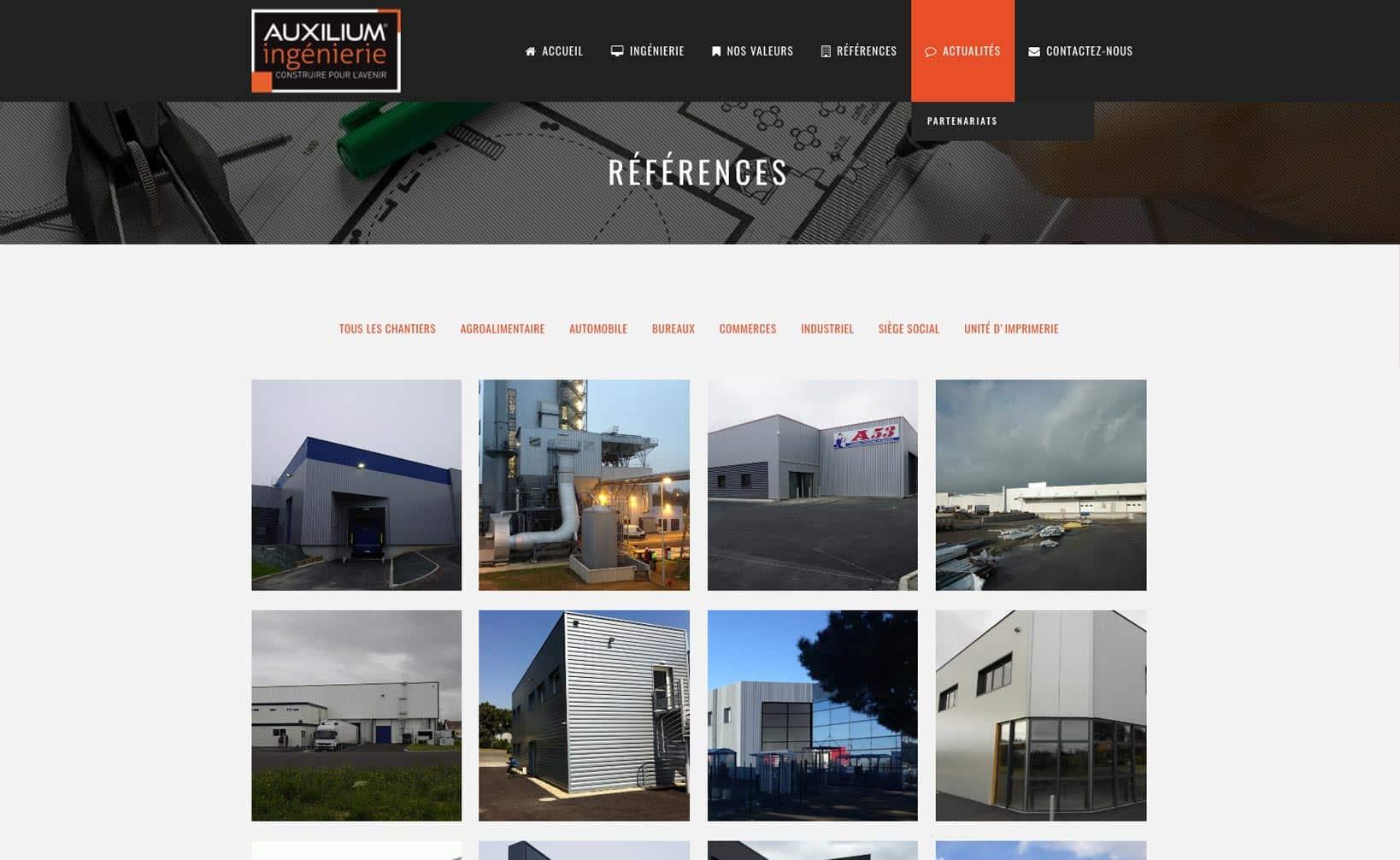 Site web Auxilium Ingénierie - vue desktop 3
