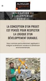 Site web Auxilium Ingénierie - vue mobile 2