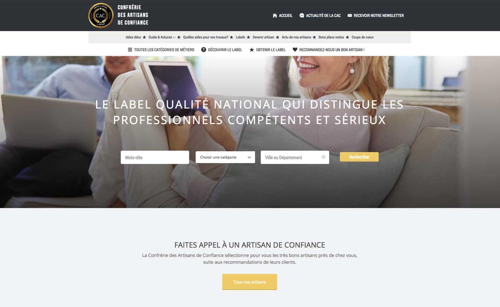 Site web Label Artisans de Confiance - vue desktop 1
