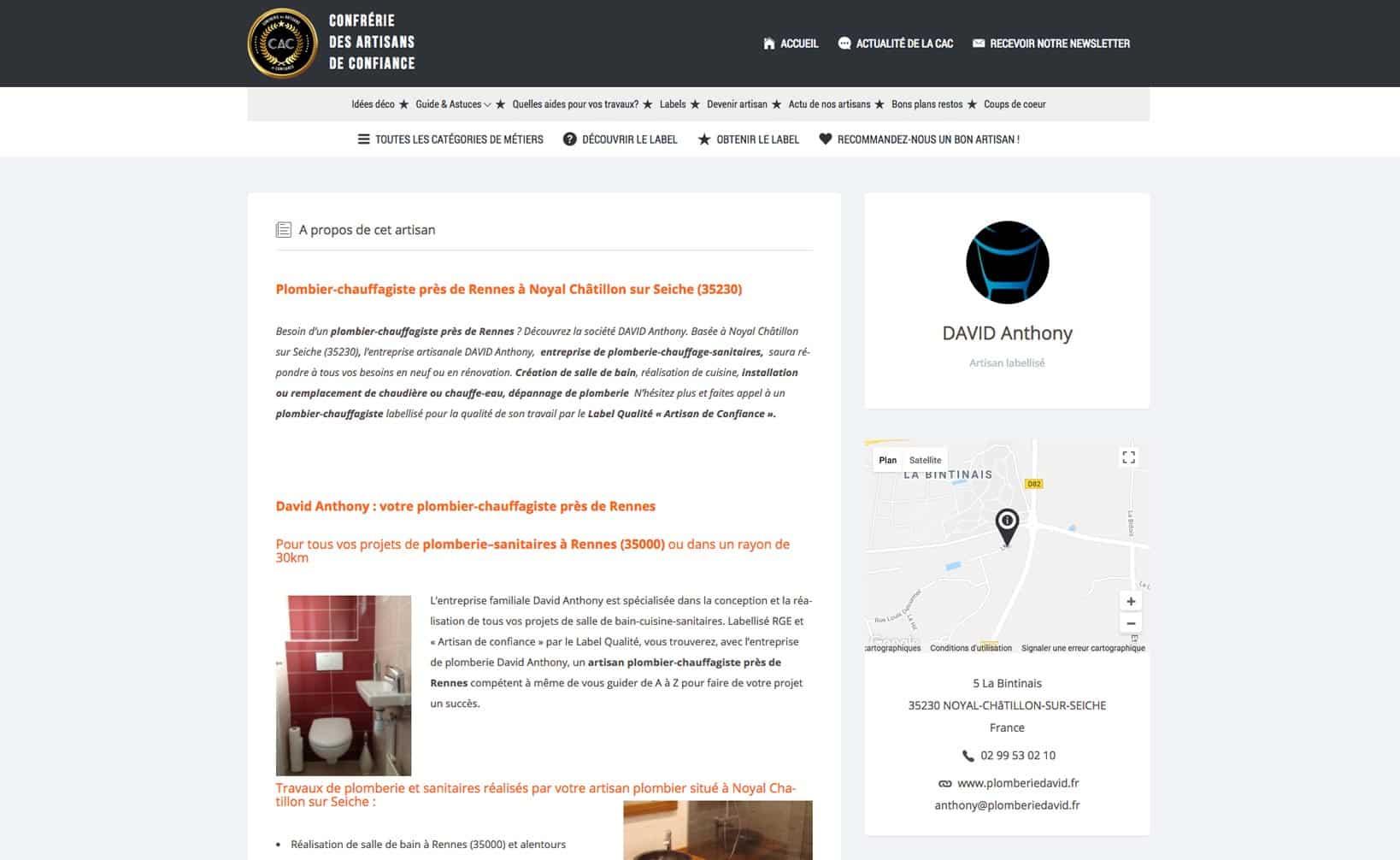Site web Label Artisans de Confiance - vue desktop 2