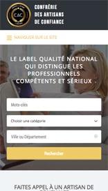Site web Label Artisans de Confiance - vue mobile 1