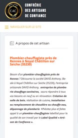 Site web Label Artisans de Confiance - vue mobile 2