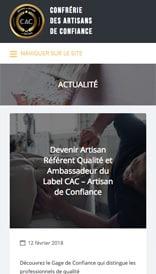 Site web Label Artisans de Confiance - vue mobile 3