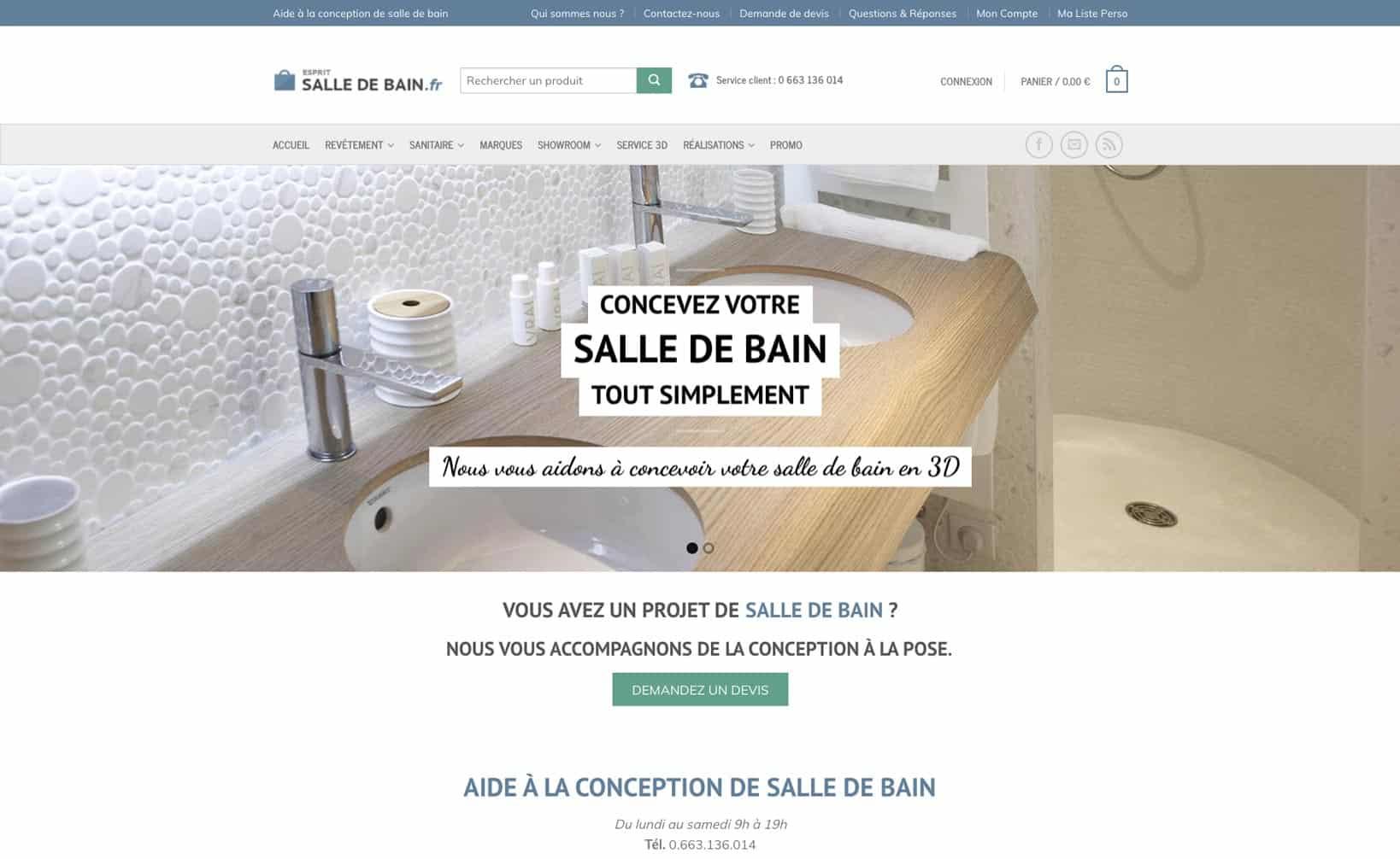Site web Esprit Salle de Bain - vue desktop 1