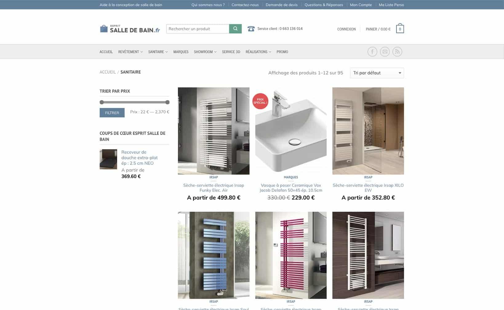 Site web Esprit Salle de Bain - vue desktop 2