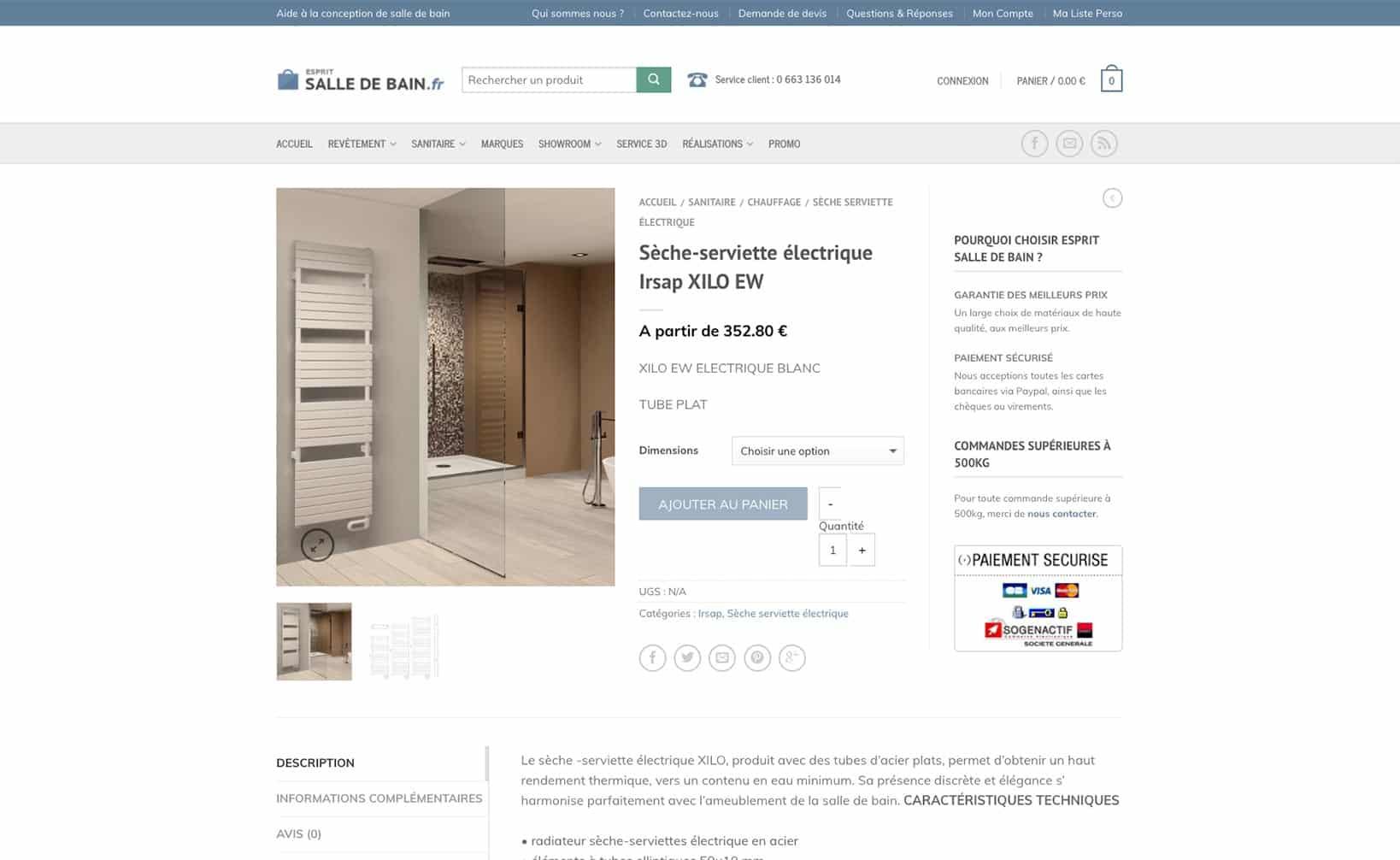 Site web Esprit Salle de Bain - vue desktop 3