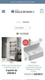 Site web Esprit Salle de Bain - vue mobile 2