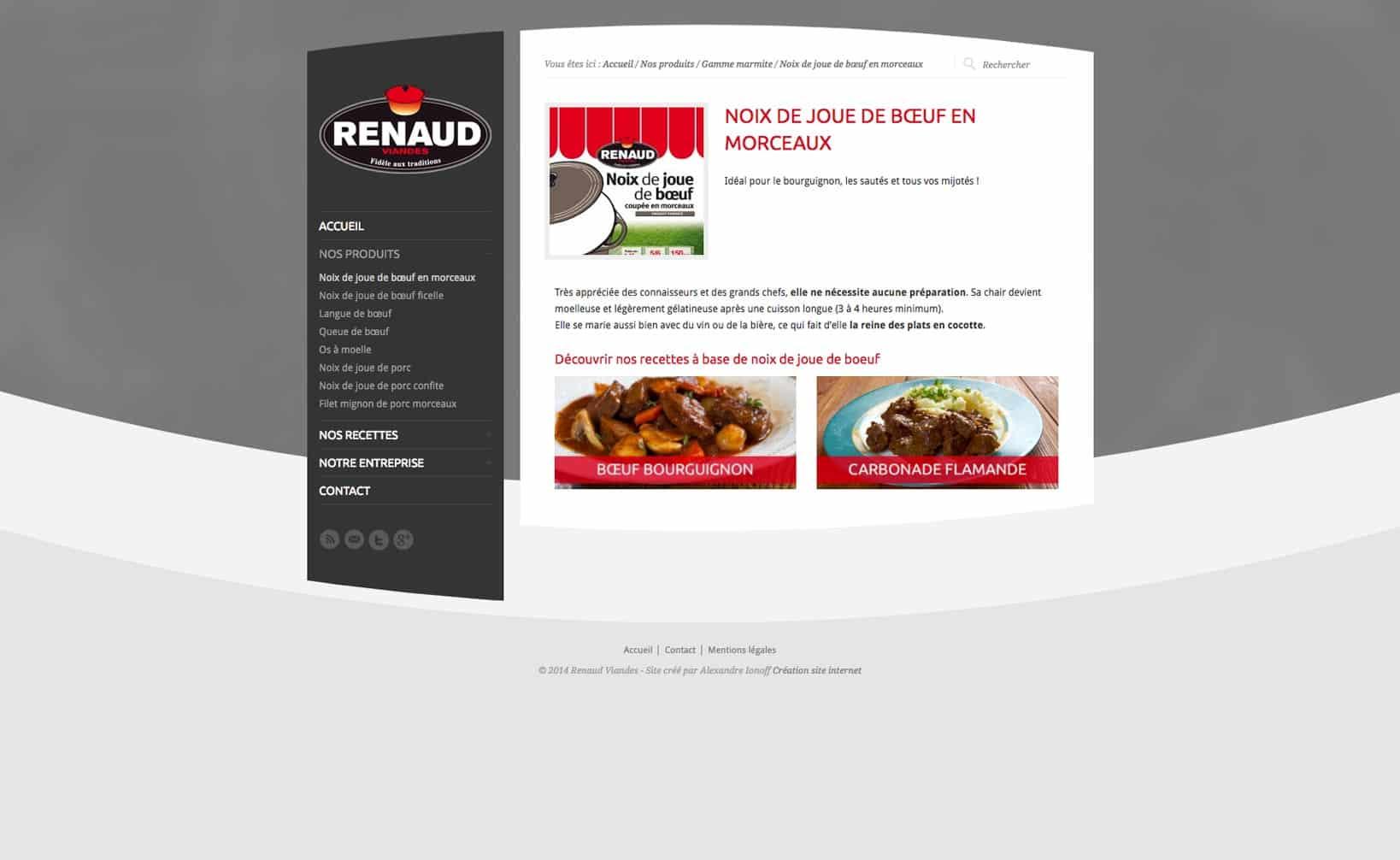 Site web Renaud Viandes - vue desktop 2