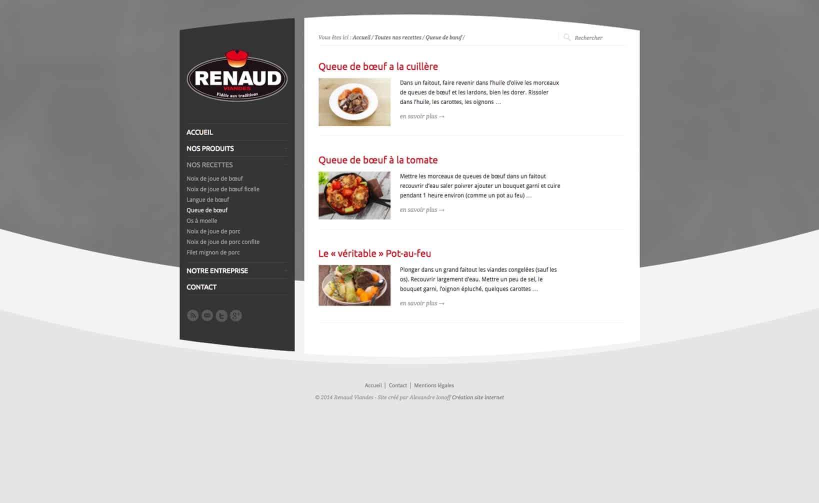Site web Renaud Viandes - vue desktop 3