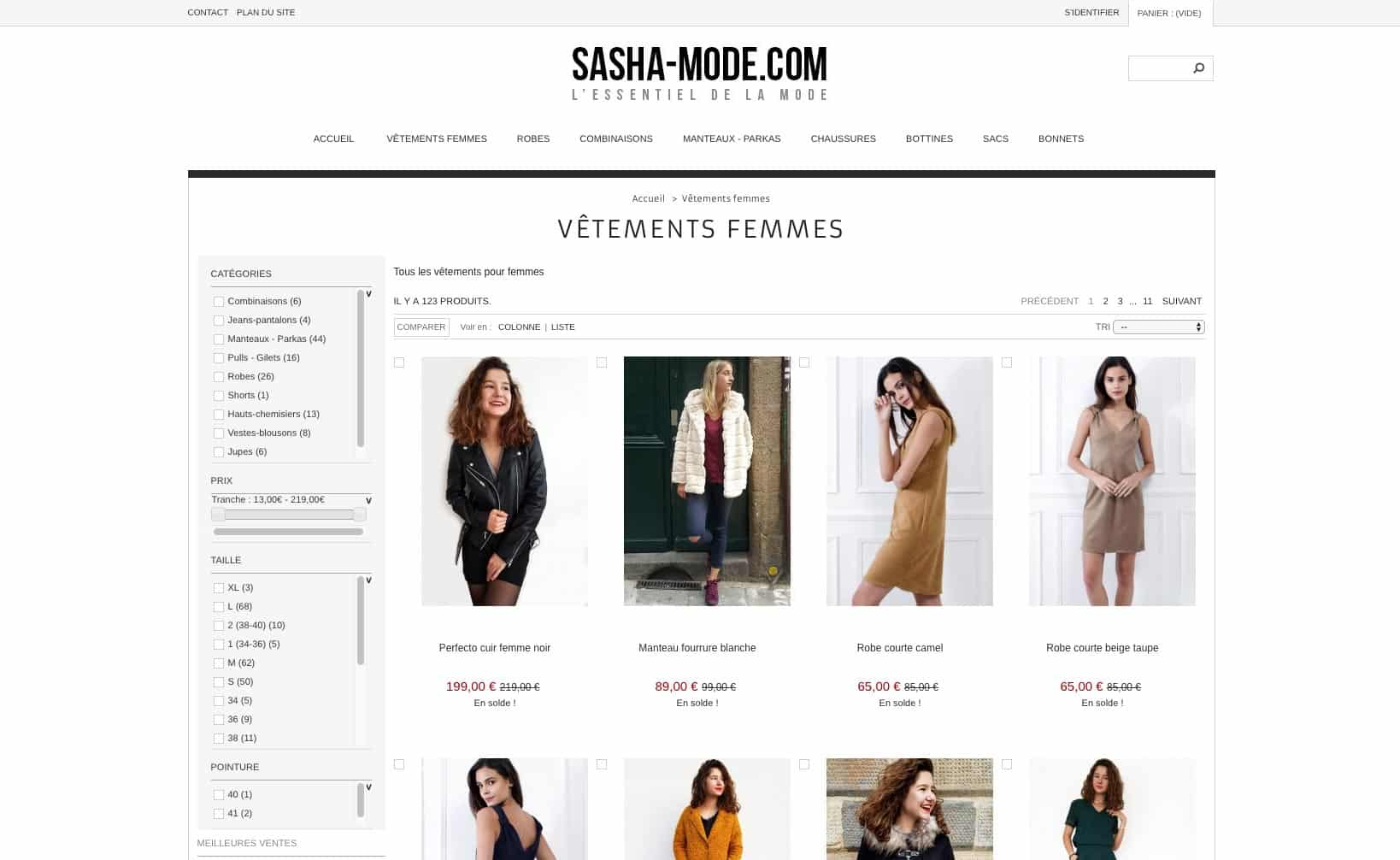 Site web Sasha Mode - Site 2013 - vue desktop 2