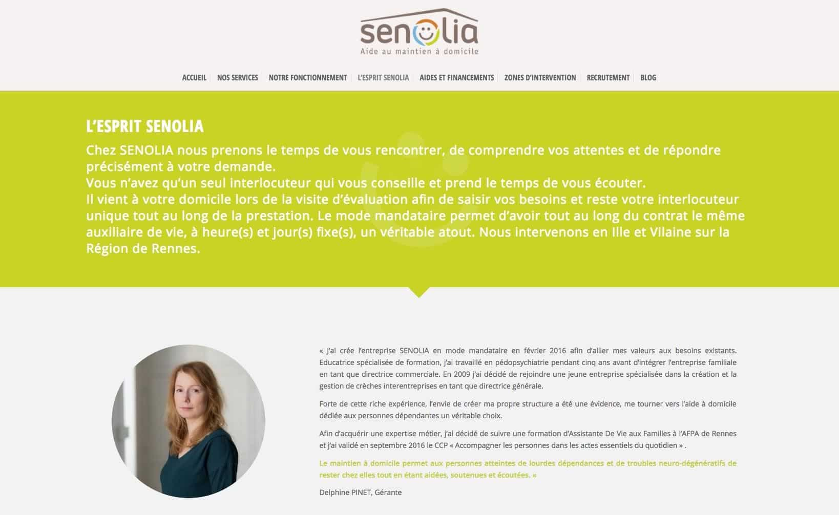 Site web Senolia- vue desktop 2