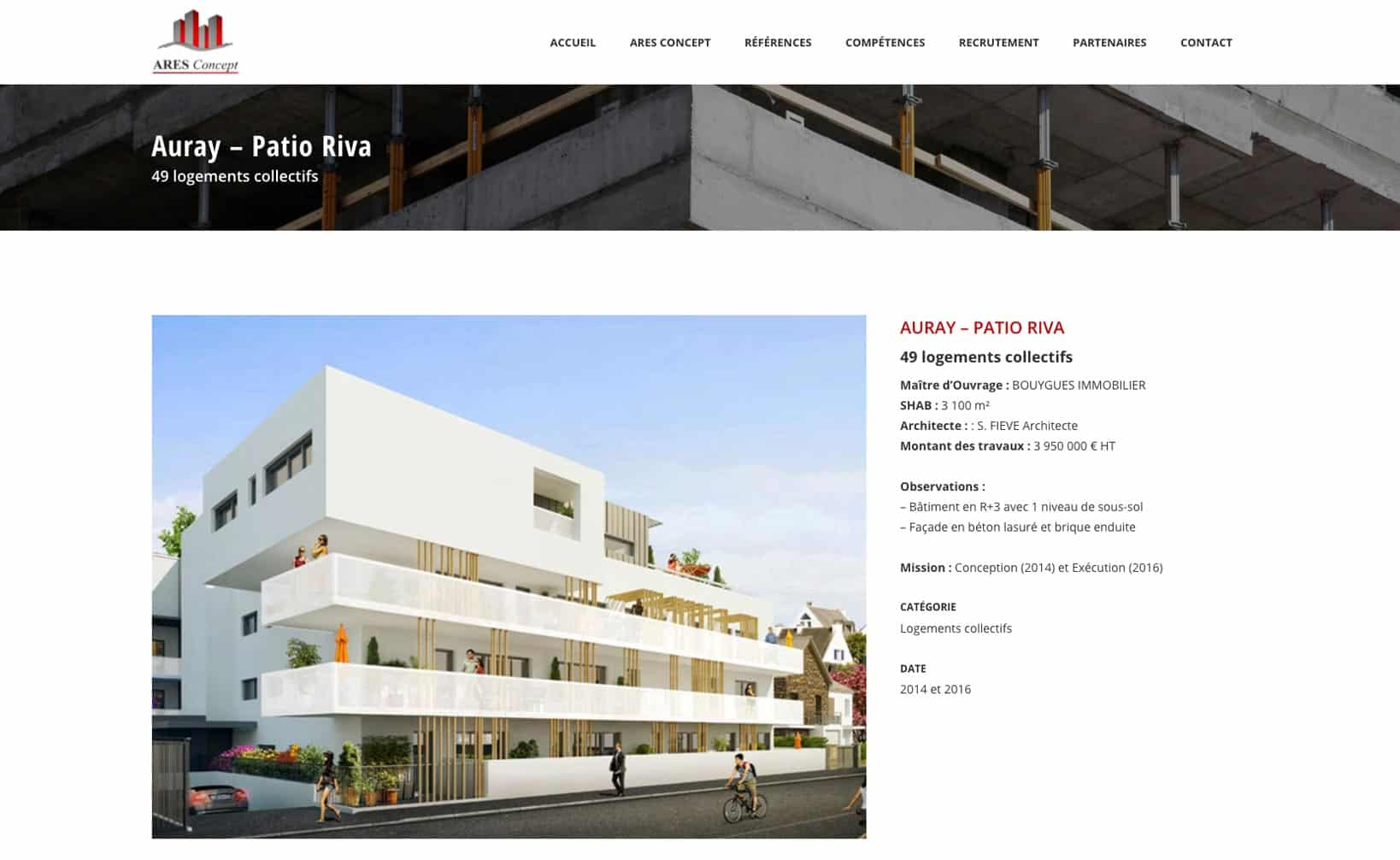 Site web Ares Concept - vue desktop 2