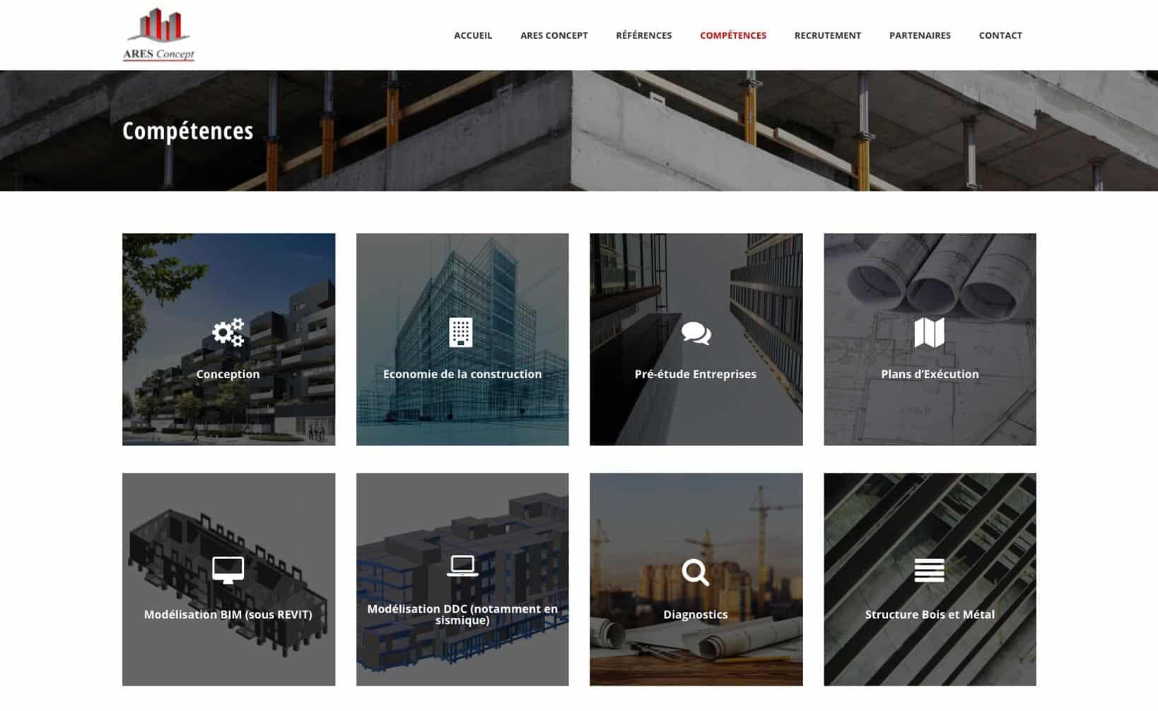 Site web Ares Concept - vue desktop 3