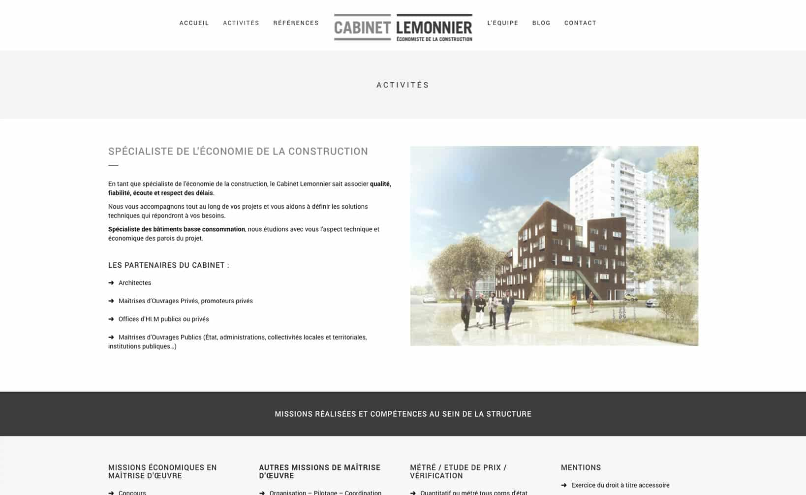 Site web Cabinet Lemmonier - vue desktop 2