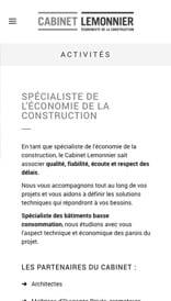 Site web Cabinet Lemmonier - vue mobile 2