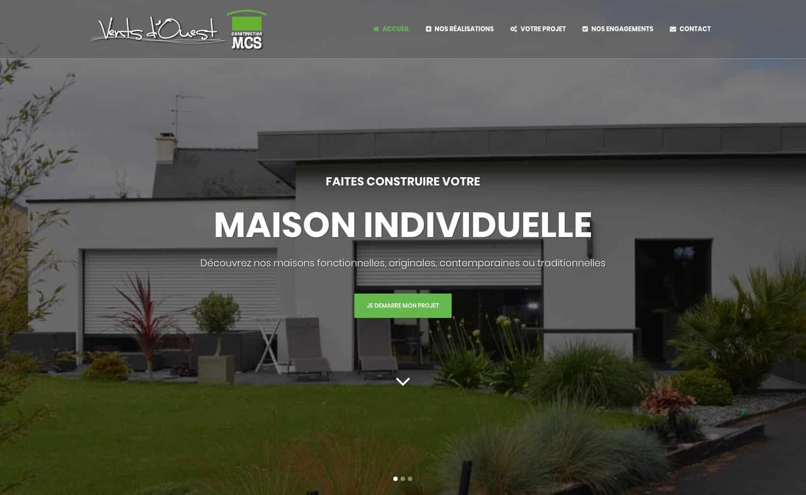 Site web MCS Vents d'Ouest - vue desktop 1