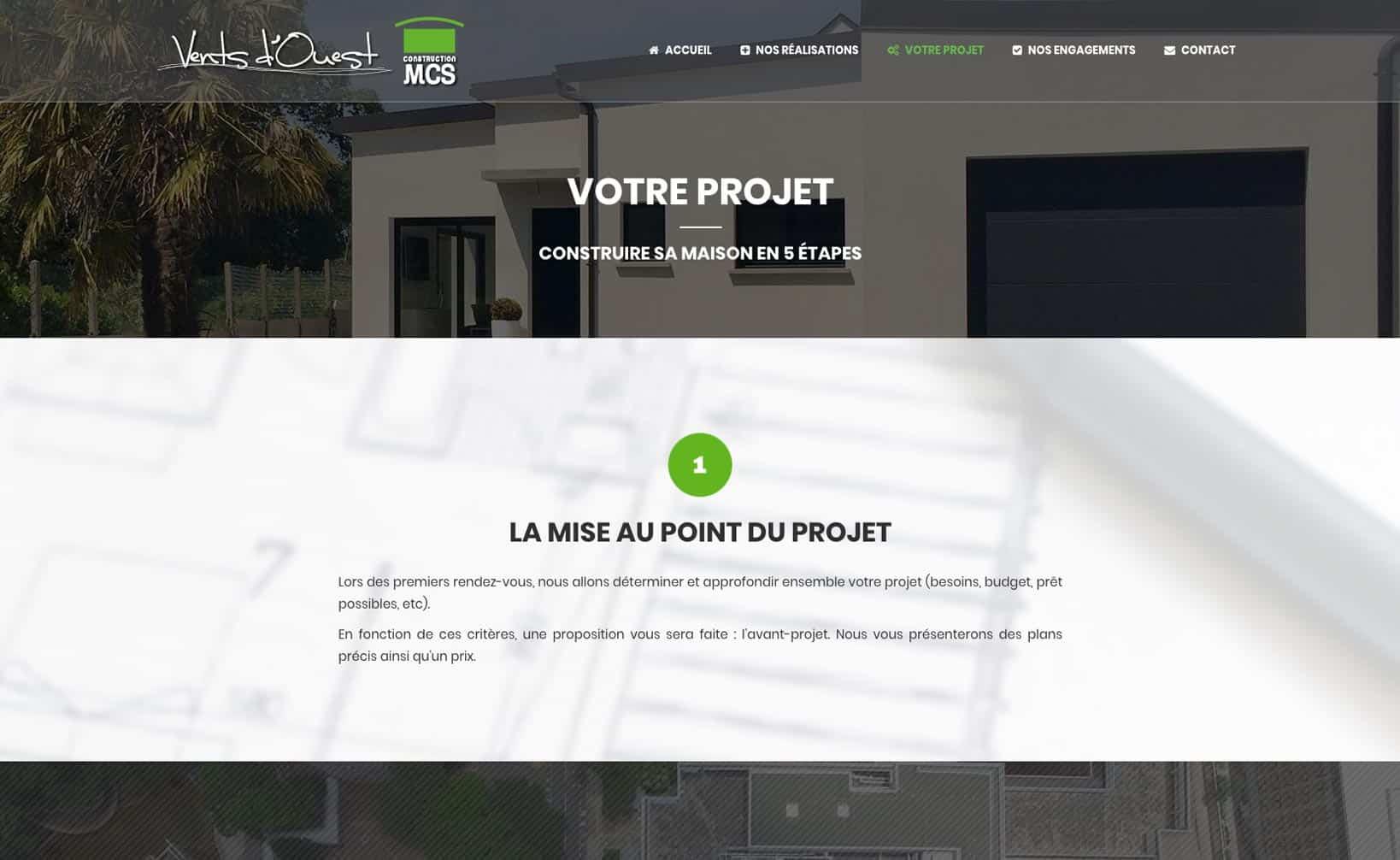 Site web MCS Vents d'Ouest - vue desktop 2