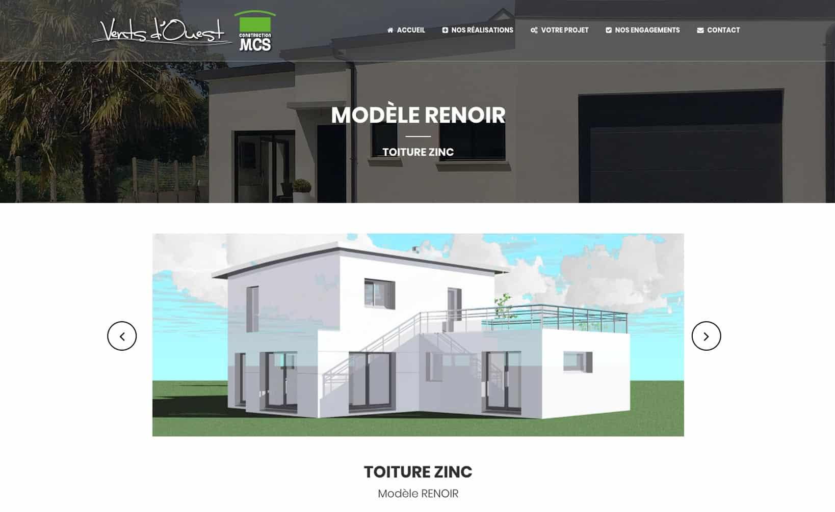Site web MCS Vents d'Ouest - vue desktop 3