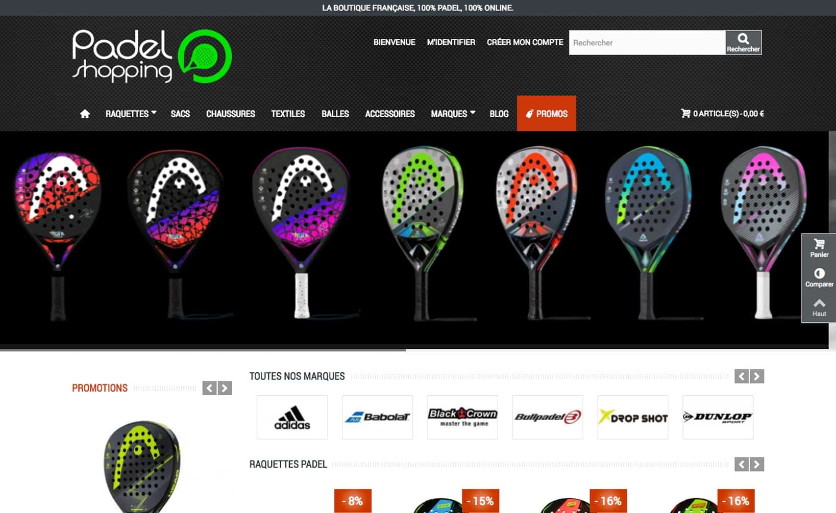 Site web Padel Shopping - vue desktop 1