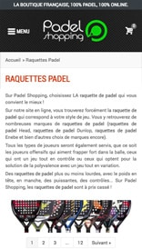 Site web Padel Shopping - vue mobile 2