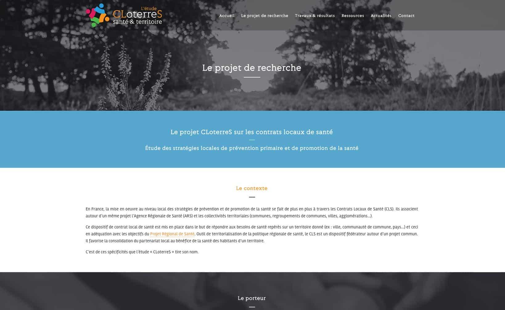 Site web CLoterreS - vue desktop 2